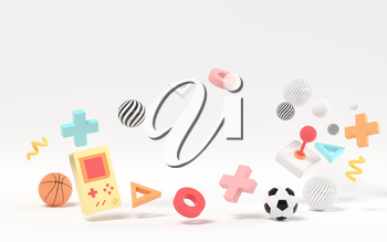 Creative recreational toys, entertainment theme, 3d rendering. Computer digital drawing.