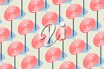 Candy pattern, pink lollipop with pale yellow background, raster illustration. Computer digital drawing.