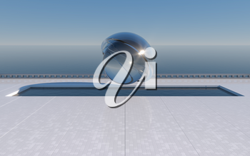 Empty ground with ocean background, 3d rendering. Computer digital drawing.