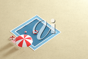 A swimming pool on the sand beach, 3d rendering. Computer digital drawing.