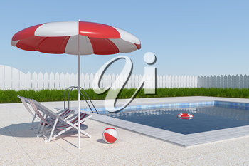 A swimming pool on a clear day, 3d rendering. Computer digital drawing.
