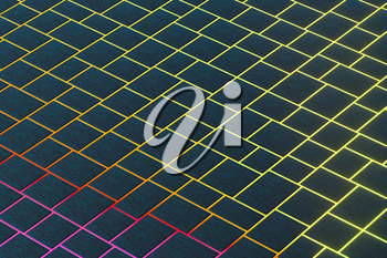 Tile cubes with colorful glowing gap, 3d rendering. Computer digital drawing.