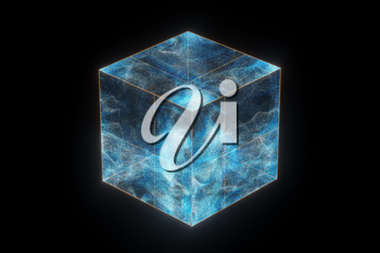Glass cube with glowing particles inside, 3d rendering. Computer digital drawing.