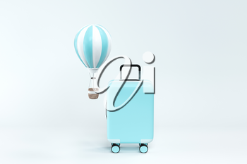 Luggage and hot air balloon with white background, 3d rendering. Computer digital drawing.