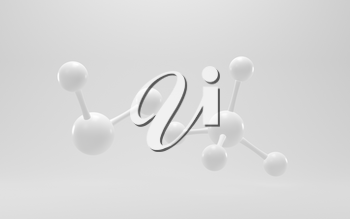 Simplicity chemical molecule with white background, 3d rendering. Computer digital drawing.