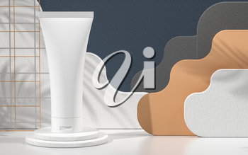 Blank cosmetic bottle with paper card background, 3d rendering. Computer digital drawing.
