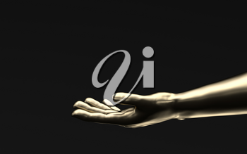 Hand sculpture with black background, 3d rendering. Computer digital drawing.