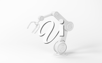 Mechanical arm with white background, 3d rendering. Computer digital drawing.