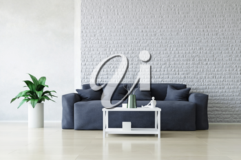 Modern Blue Sofa with Pillows and Table near the White Brick Wall, Green Plant on the Wooden Floor, Fashion Decor, Living Room Conceptual Style, 3D Rendering Trendy Art Graphic Design.