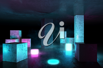 Neon 3D Glow Electric Lights objects with Fluorescence and Smoke, Technology Grunge Columns, 3D Rendering Background, Underground Abstract Sci-Fi Design, Conceptual Cosmic Tomorrow Aesthetic Style.