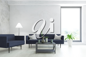 Modern Interior Room with Contemporary Furniture, Blue Sofa, Armchair, Lamp, Plant and Table with Accessories near the Old Wall, Minimalistic Fashion Style, 3D Rendering Illustration Graphic Design