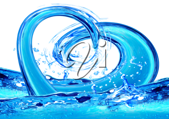Royalty Free Clipart Image of a Water Forming the Shape of a Heart