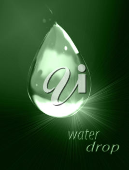 Royalty Free Clipart Image of a Dark Green Water Drop