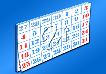 Royalty Free Clipart Image of Pages of a Calendar