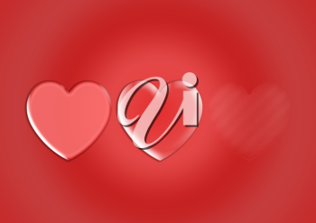 Royalty Free Clipart Image of a Background Design of Two Hearts