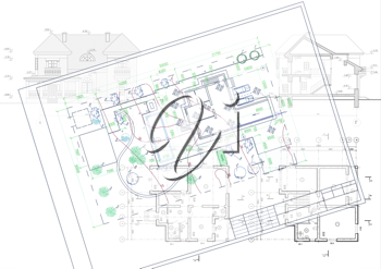 Royalty Free Clipart Image of a Set of Drawings for a House