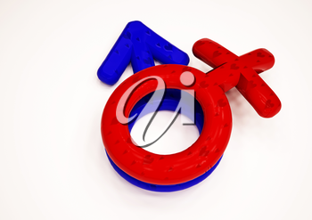 Dimensional man's and female signs on a white background. 3D render.