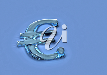Dimensional sign of the European euro in color flag of Europe. 3D render.