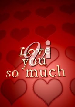 Dimensional inscription LOVE you so much on background. 3D rendering.