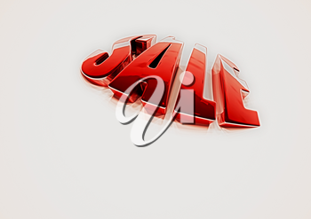 Dimensional inscription of SALE isolated on background. 3D rendering.