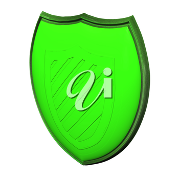 Image of a green shield, as protection concept.