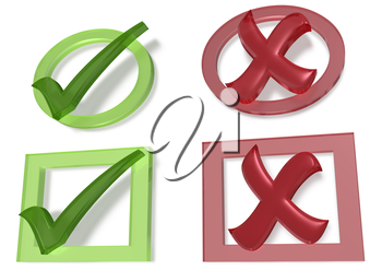 Glossy green Check mark and Cross mark on white background