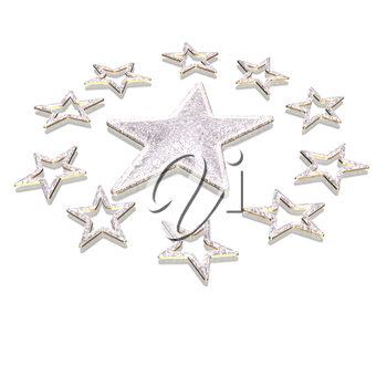 Stars. Isolated on white. Three dimensional render.