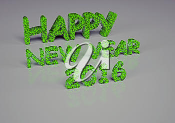 The three-dimensional inscription the Happy New Year 2016 is made small cubes.