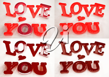 Set of pictures inscription of LOVE YOU and heart near it.