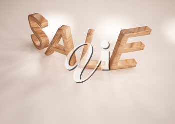 The dimensional word sale on a white background