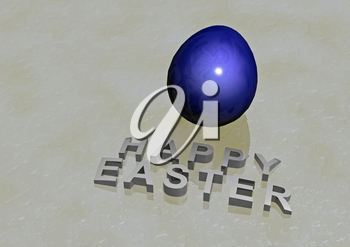 Dimensional inscription Happy Easter on white background. 3D rendering.
