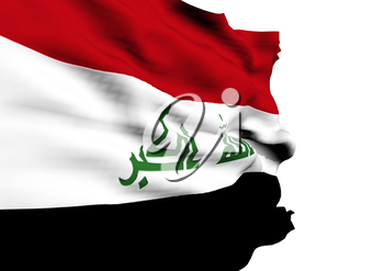Image of a waving flag of Iraq