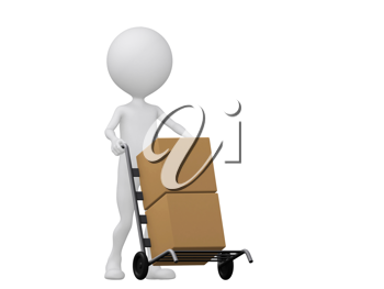 Royalty Free Clipart Image of a Figure Moving Boxes