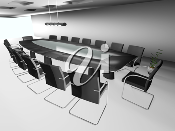 Royalty Free Clipart Image of a Boardroom