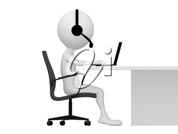 Royalty Free Clipart Image of a Figure Typing on a Laptop