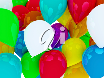 Royalty Free Clipart Image of Brightly Coloured Balloons