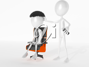 Royalty Free Clipart Image of Figures in a Hair Salon