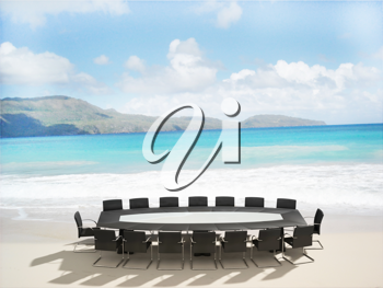 Royalty Free Clipart Image of a Meeting Table on a Beach