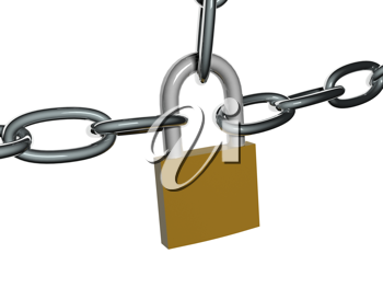Royalty Free Clipart Image of a Fastened Lock