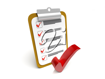 Royalty Free Clipart Image of a Checkmark and a Clipboard
