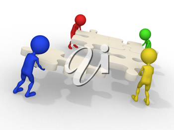 Royalty Free Clipart Image of Figures Joining Puzzle Pieces