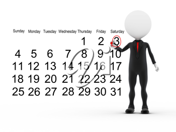 Royalty Free Clipart Image of a Figure With a Busy Calendar