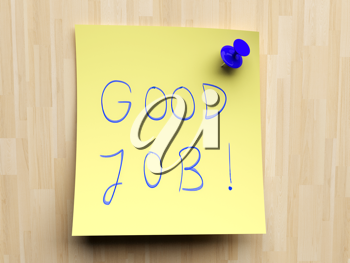 Royalty Free Clipart Image of a Note Stating Good Job