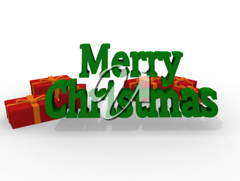 Royalty Free Clipart Image of a Merry Christmas With Block Letters
