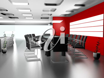 Royalty Free Clipart Image of a Modern office