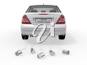 Royalty Free Clipart Image of a Just Married Sign on a Car