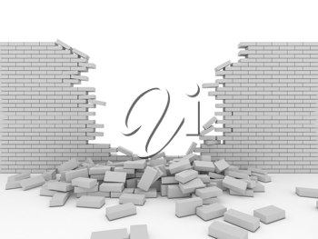 Royalty Free Clipart Image of a Broken Wall