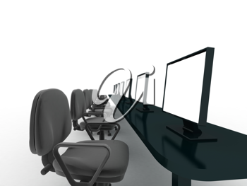 Royalty Free Clipart Image of an Office Space