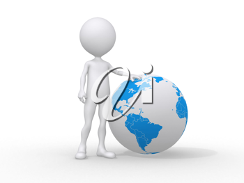Royalty Free Clipart Image of a Figure with an Earth Globe