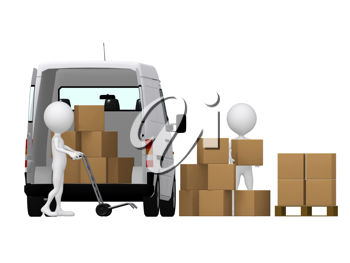 Royalty Free Clipart Image of People Moving Boxes Into a Van